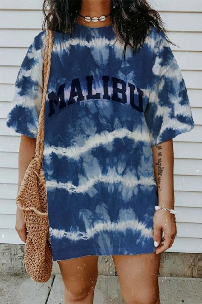 Vintage Blue Tie Dye Letter Print O-neck Short Sleeve Oversized T-shirt  Harajuku Fashion Tops Gothic Woman Tshirts Y2k Top