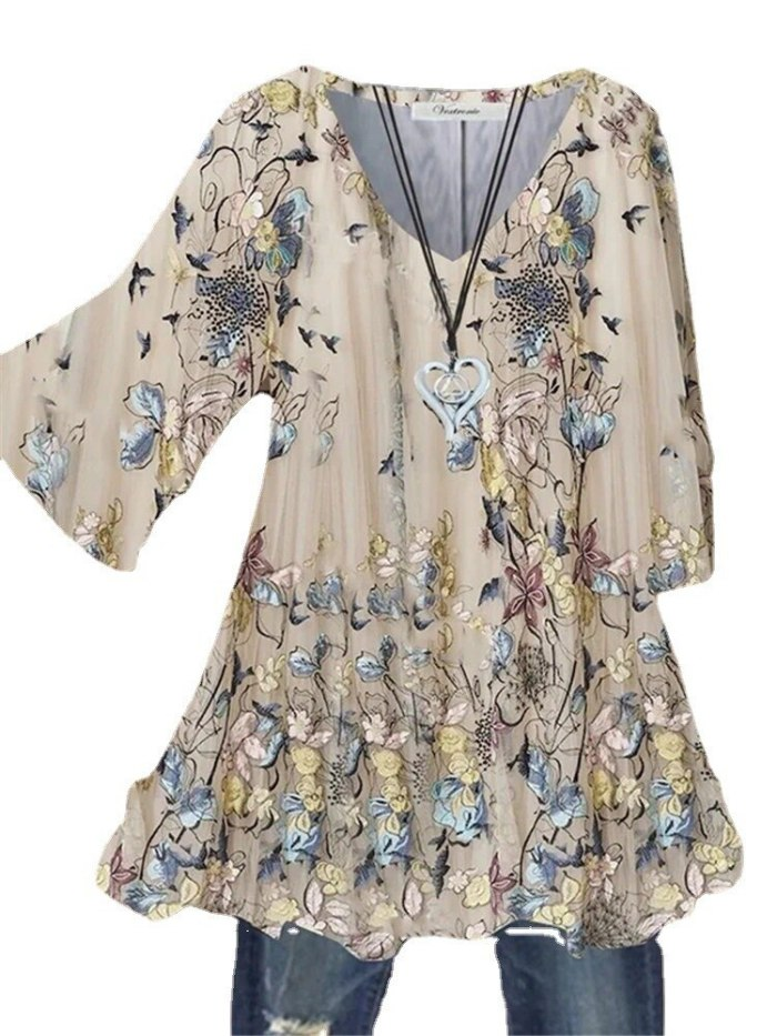2021 new style five-point sleeve  women's big pendulum trumpet sleeve hedging printing V-neck five-point sleeve top ladies shirt