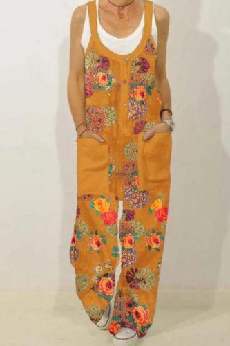 Plus Size Jumpsuits Women Cotton Linen Summer New Fashion Print Straight Loose Casual Long Jumpsuit