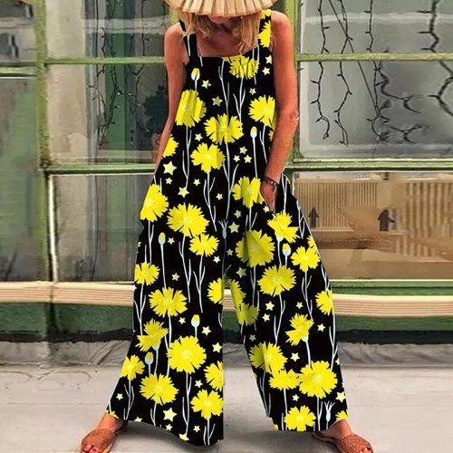 Fashion Summer Daisy Print Pocket Rompers Elegant Women Sleeveless Jumpsuits 2021 Loose Sling Cargo Overall Playsuits Streetwear