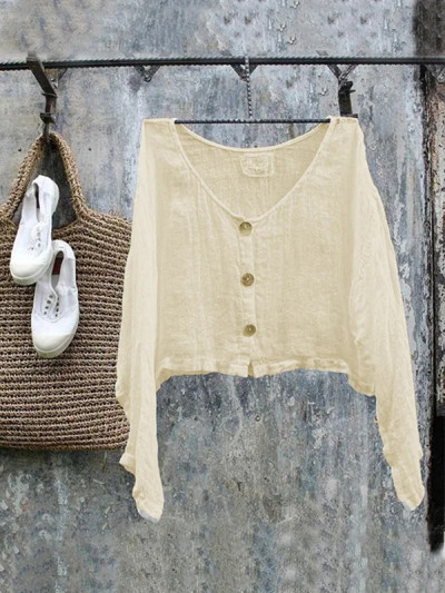 2021 Cardigan Loose White Casual Long-Sleeved Round Neck Large Size Cotton And Linen Top Blouse Shirts