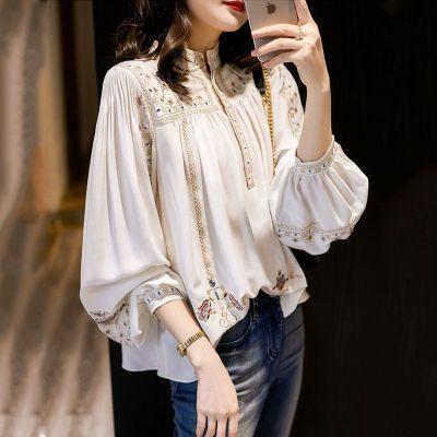 Lady Large Size Fashion Printed Shirt Women's Spring Summer 2020 New Retro Bohemian Long Lantern Sleeve Elegant Blouse Tops P191