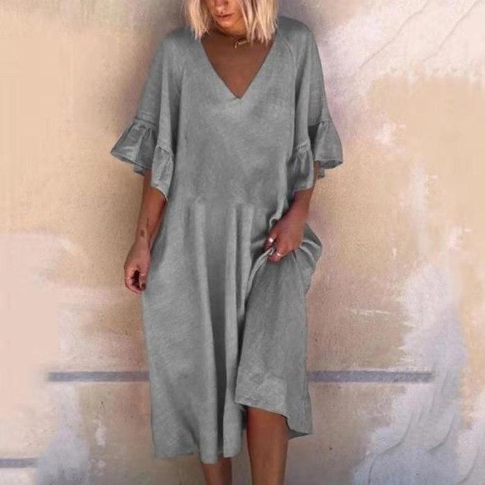 V Neck Solid Color Sexy V-Neck Patchwork Loose Dress