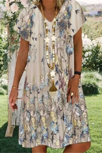 V Neck Short Sleeve T Shirt Dress Women Summer Casual Loose Elegant Beach Boho Dresses Plus Size Print Fashion Pullover Clothing