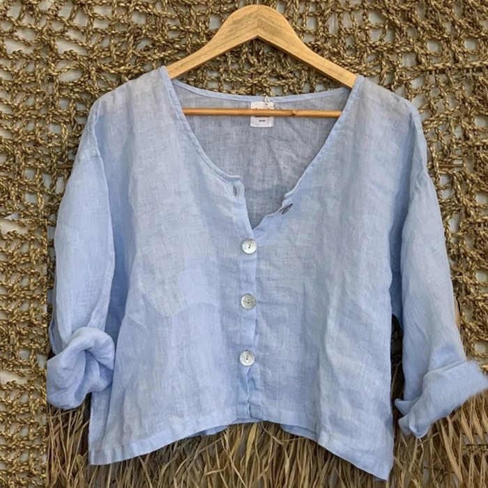 40#Blouses Women Button Thin Linen Casual Solid Long Sleeve O-Neck Shirt Blouse Loose Tops Spring Elegant Casual Tee рубашка