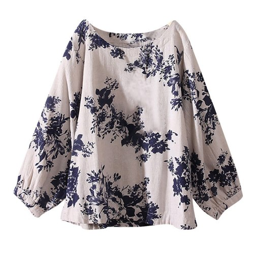 Vintage Boho Floral Printing Blouse Women Soft Cotton Long Sleeve Loose Pullover Plus Size Shirts