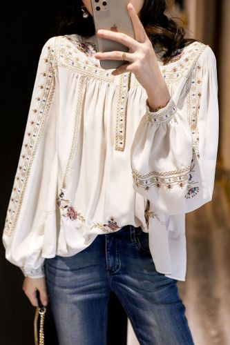 Lady Large Size Fashion Printed Shirt Women's Spring Summer 2020 New Retro Bohemian Long Lantern Sleeve Elegant Blouse Tops P191