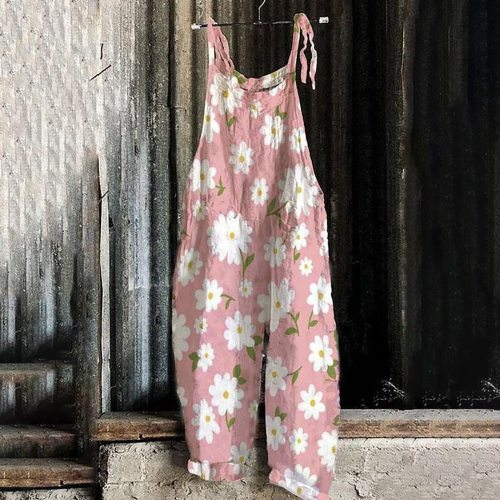 Ethnic Style Floral Print Women's Jumpsuit Overalls Summer Fashion Casual Ladies Retro Off-Shoulder Sleeveless Wide-Leg Jumpsuit