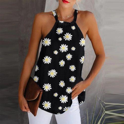 New Women Daisy Print Elegant Halter Tops Summer Sleeveless Blouse Linen Blouses Shirt Women Plus Size Sexy Streetwear Tops