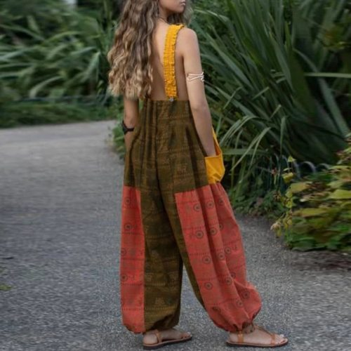 Women Retro Floral Print Linen Cotton Jumpsuit Spring Summer Backless Strappy Bodysuit Female Sleeveless Wide Leg Pants Playsuit