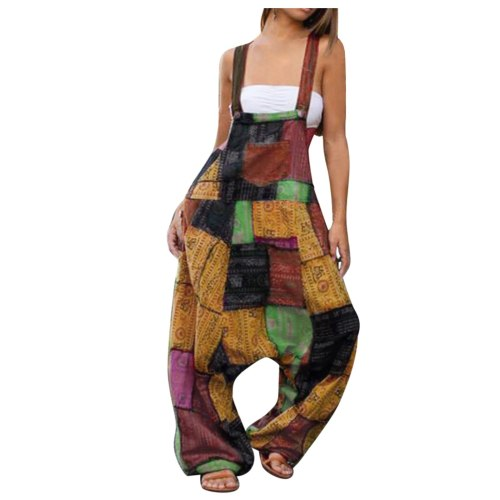 Summer Ladies Casual Bohemian Style Loose Sling Button Suspenders Jumpsuit 2021 Streetwear Fahion Jumpsuit For Woman F Fast Ship