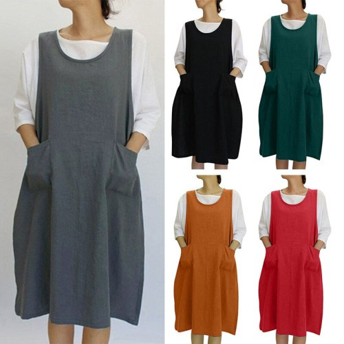 2021 National Style Vintage Women's Dress Cotton Round Neck Loose Casual Sleeveless Vest Dresses Pocket Midi Plus Size Maternity