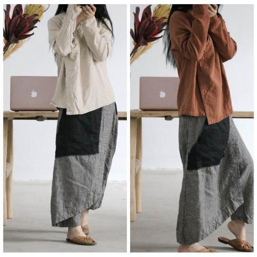 2021 Spring Women Pants Vintage Casual Elastic Waist Plaid Do Old Contrast Color Pocket Loose Comfort Flax Ninth Pants