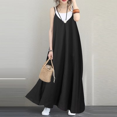 2021 Casual Solid Women V Neck Dress Loose Waist Spaghetti Strap Ankle-length Sleeveless Women Dress Patchwork Lady Dress 5XL