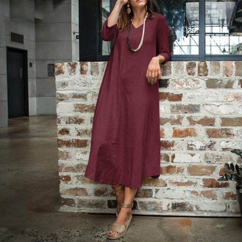 Length Women Solid Dress Pocket V-neck Loose Waist Casual Vintage Dresses Three Quarter Sleeve Washing Cotton Plus Size 5XL