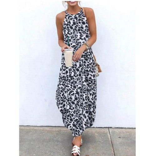 Women Sexy Leopard Dresse Summer Beach Irregular Dress 2021 Evening Party Halter Maxi Dress Sleeveless Split Flowy Long Sundress