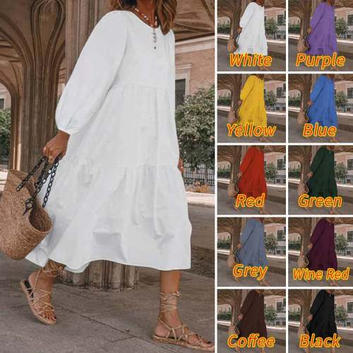 Womens Sundress Spring Dress Bohemian Long Dress Long Lantern Sleeve Robe 2021 Bohemian Beach Sundress Plus Size Dress