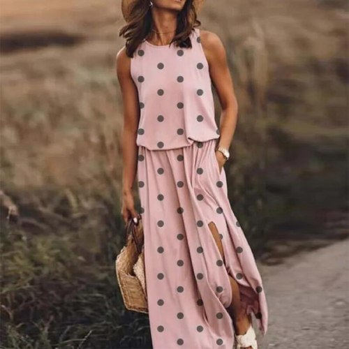 Summer Sexy Sleeveless Women Long Dress Elegant Female O-Neck Party Dresses Spring Vintage Print Split Beach Maxi Dress Vestidos