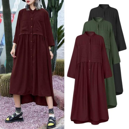Solid Color Dress Women's Fashion Loose Cardigan Button Solid Color O-neck Long Sleeve Dress Plus Size Fashion Dress платье