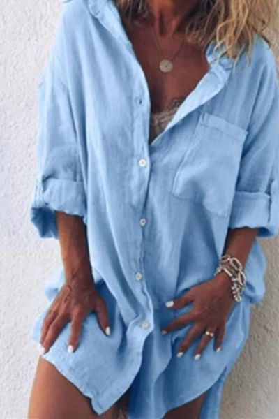 2021 Plus Size Women Shirt Autumn Fashion Rollable Sleeve Midi Blouse Shirts