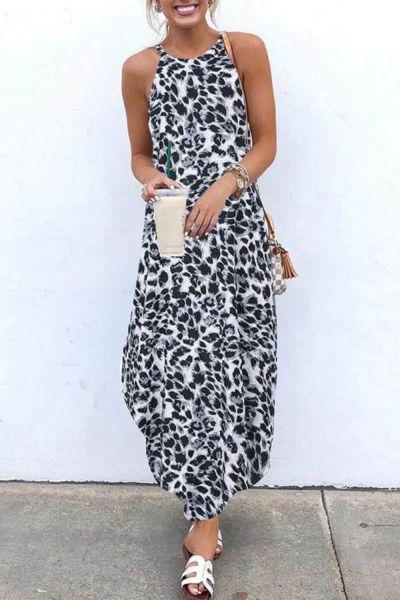 Women Sexy Leopard Dresse Summer Beach Irregular Dress 2021 Evening Party Halter Maxi Dress Sleeveless Split Flowy Long Sundress