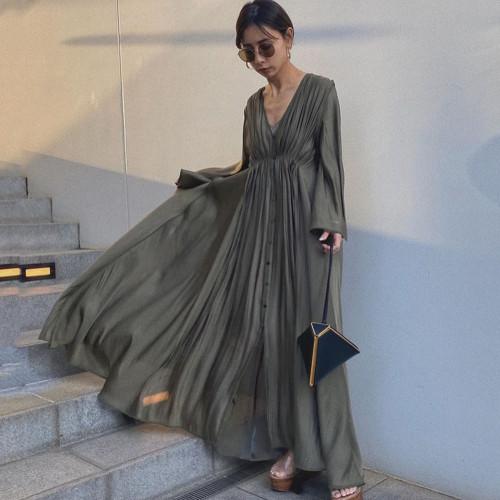Women Long Sleeve Korean Dress 2021 Autumn Summer V Neck Casual A-Line High Waist Pleated Long Maxi Dresses Office Ladies