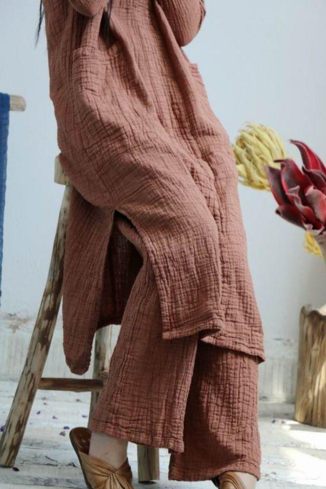2021 Summer Trousers Women New Literature Solid Color Elastic Waist Pockets Loose Comfort Joker Plus Size Wide Leg Pants