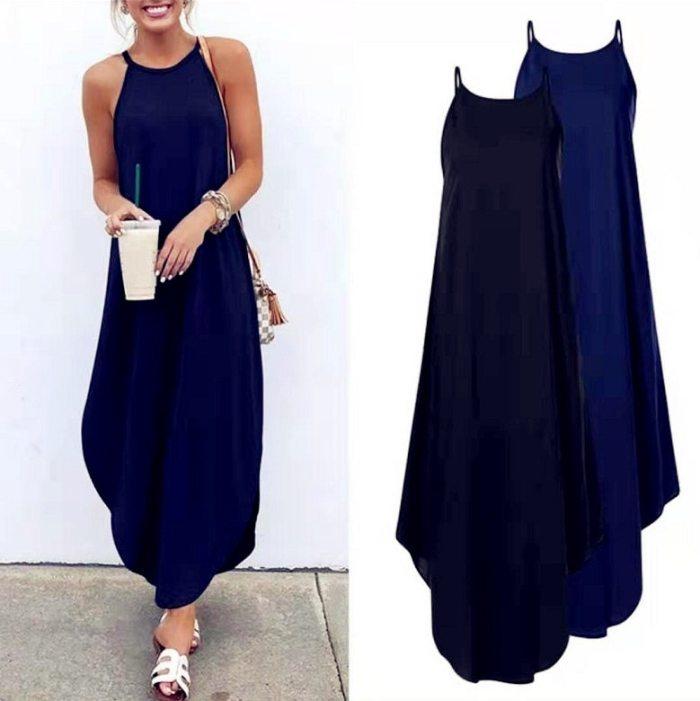 2021 Women Casual Halter Strap Dress Beach Summer Sexy Boho Bow Camis Befree Maxi Dress Plus Sizes Big Large Dresses Robe Femme