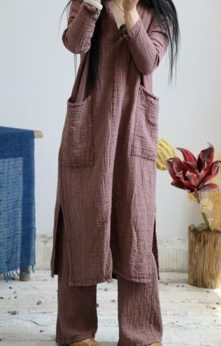2021 Women Cotton Linen Dress Autumn Spring Long Sleeve Vintage New Solid Color Original Big Size Loose Women Robe