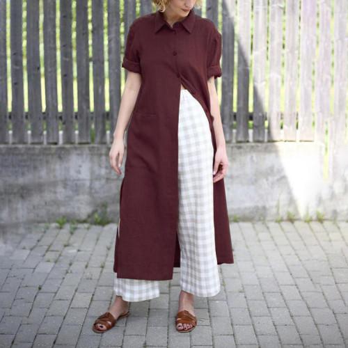 Stylish High Split Long Tops Women's Asymmetrical Shirts Casual Long Sleeve Shirts Female Button Blusas Oversized Tunic