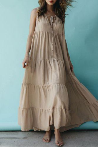 Dress Summer Sleeveless Plain Maxi Length Ladies Fashion Pullover A Line Holiday Beach Waist Mid-length Stitching Large Dresses
