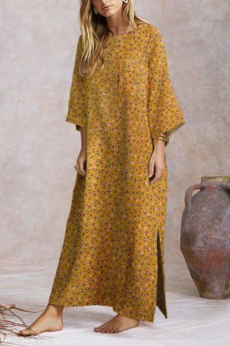 2021 O-Neck Printed Chinese Hedging Cotton And Linen Long Skirt, Light Luxury Green Floral Maxi Dress