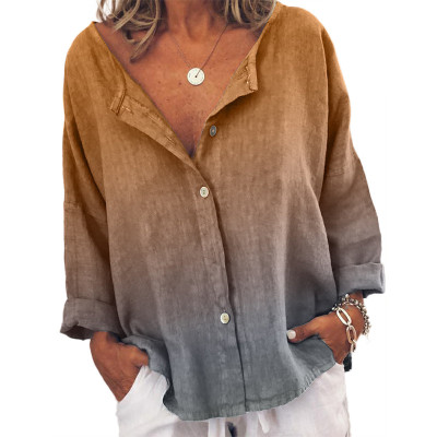 Women'S New Casual Loose Round Neck Long-Sleeved Shirt Shirt Spring And Autumn Multi-Color Hanging Dye All-Match Shirt