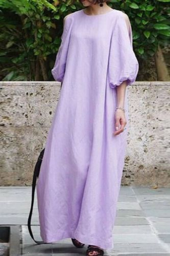 Ancient Women Elegant Lantern Long Sleeves Dress Chinese Style O-Neck Plus Size Casual Loose Dress Autumn Solid Loose Vestidos