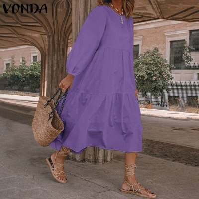 Womens Sundress Spring Dress Bohemian Long Dress Long Lantern Sleeve Robe 2021 Bohemian Beach Sundress Plus Size Dress