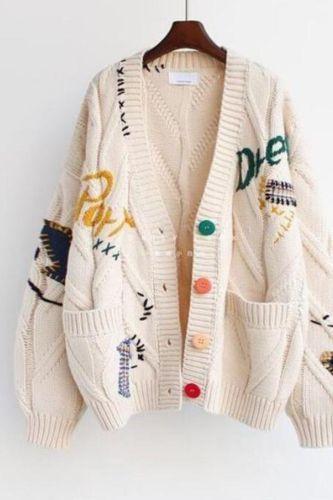 2021 fall/winter ins yk2 loose knit cardigan sweater coat jacket women кардиган cardigan топ xnwmnz tops кардиган женский