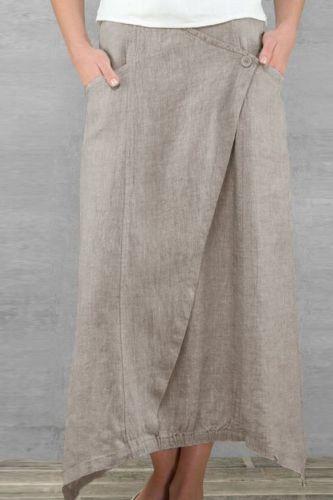 Women Skirts 2021 Literary Linen High Waist Casual Pockets Solid Color Leisure Wild Elastic Waist Plus Size Irregular Hem Skirt