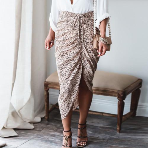 2021 Women's Irregular Leopard Print Slit Skirt with One Step Skirt