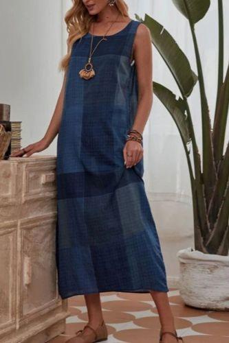 2021 Women's Summer Ladies Loose Dress Large Size Loose Plaid Cotton and Linen Dress