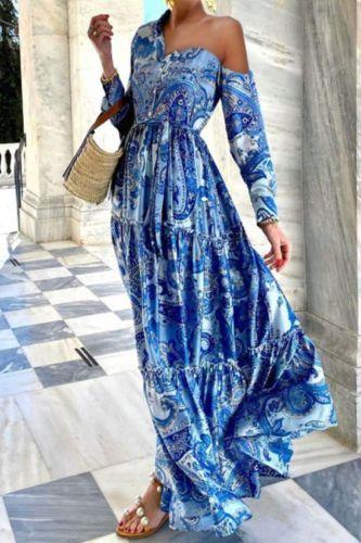 Hot Sale Women'S Off-The-Shoulder Long-Sleeved Maxi Dress
