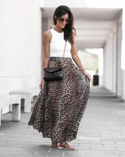 2021 Women'S New Leopard Print High-Waisted Skirt