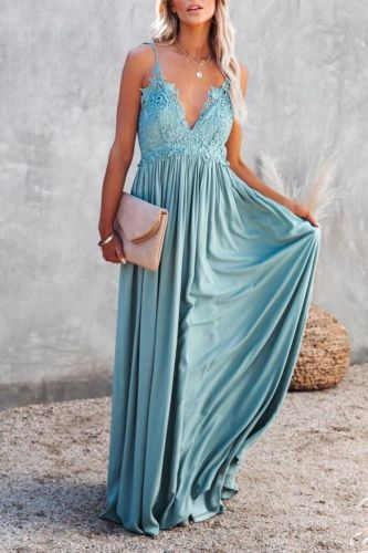 2021 Women's New Embroidered Lace Sling Long Skirt Seaside Holiday Dress