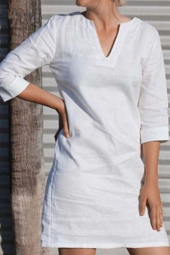 2021 Summer New Style Three-Quarter Sleeves V-Neck Large Size White Casual Mid Cotton And Linen Dress