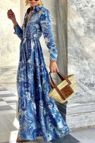 Hot Sale Blue Elegant Long-Sleeved Shits Dress Women Women'S Long Print Maxi Dress  2021