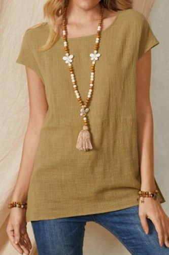 2021 Women's Cotton and Linen T Shirt with Split Neck Plain Color Short Sleeves Casual Loose Top