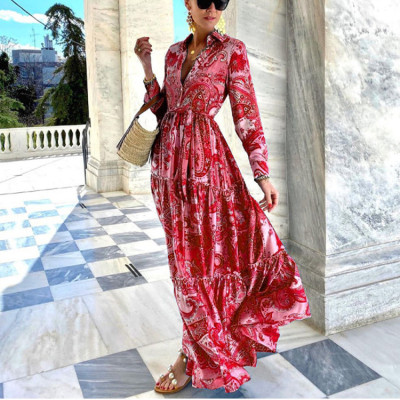 Hot Sale Blue Elegant Long-Sleeved Shits Dress Women Women'S Long Print Maxi Dress  2021