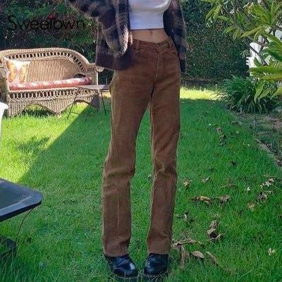 Linenlooks Corduroy Y2K Joggers Women Cargo Pants 90s Streetwear Caramel Brown Low Waist E Girl Aesthetic Straight Trousers Female
