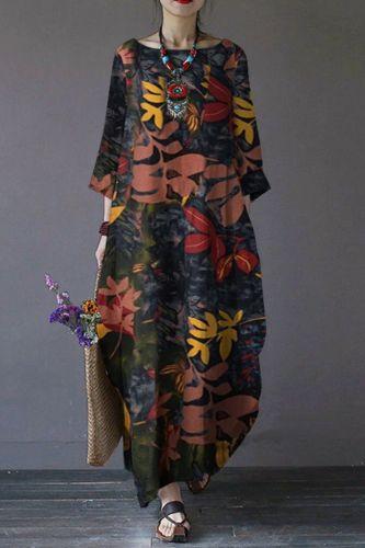 Spring French Women Casual Dress Moroccan Kaftan Long Sleeve Floral Print Maxi Vestido Eid muslim Abaya Sundress Robe Plus Size