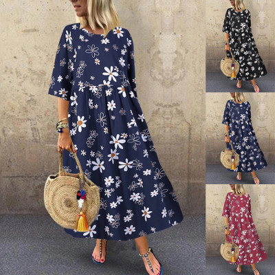 Fall 2021 New Women'S Round Neck Dress Loose And Thin Printed Half Sleeve Dress Women