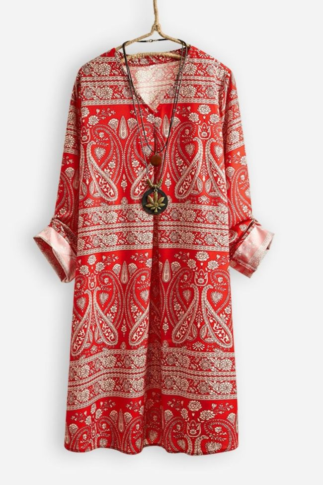 Early Spring Women Fashion Red Vintage Pattern Long Sleeve V-Neck Dress Female Bohemia Style Loose Casual Chiffon Straight Robes